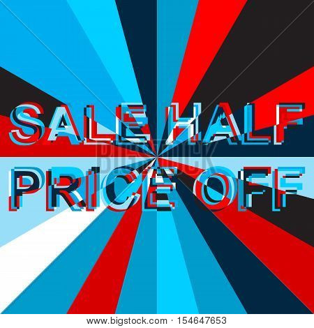 Big sale poster with BAKE SALE text. Advertising blue and red  banner template