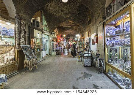 Isfahan, Iran - October 06, 2016:  Traditional Iranian Souvenirs In Market (bazaar) In Isfahan, Iran