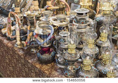 Isfahan, Iran - October 06, 2016: Traditional Iranian Market (bazaar) Metal Souvenires, Lamps.