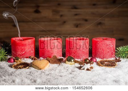 Four Blown Out Advent Candles With Space