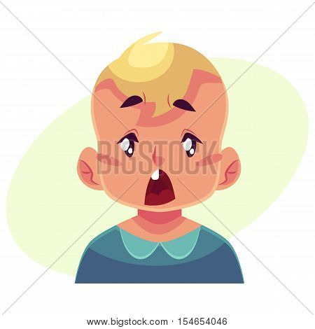 Little boy face, surprised facial expression, cartoon vector illustrations isolated on yellow background. Blond male kid emoji surprised, shocked, amazed, astonished. Surprised face expression