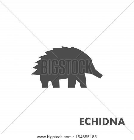 Black vector figure of echidna. Vector australian animal for web and design.