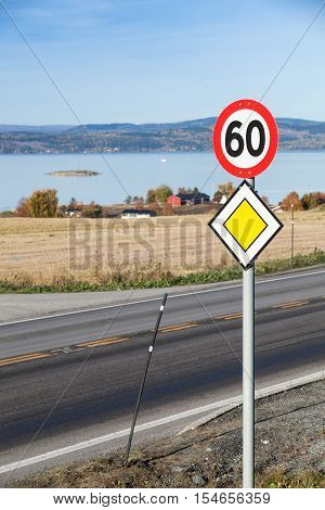 Main Road Roadsign With Speed Limit