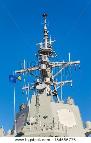 The mast with electronic system of defense of a military ship.