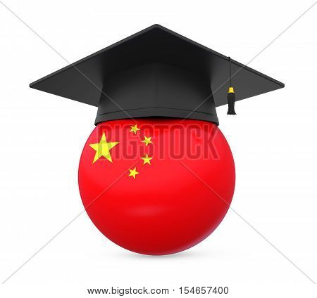 Graduation Cap with China Flag isolated on white background. 3D render