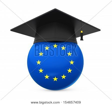 Graduation Cap with European Union Flag isolated on white background. 3D render
