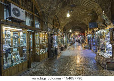 ISFAHAN IRAN - OCTOBER 06 2016: Traditional iranian market (Bazaar)
