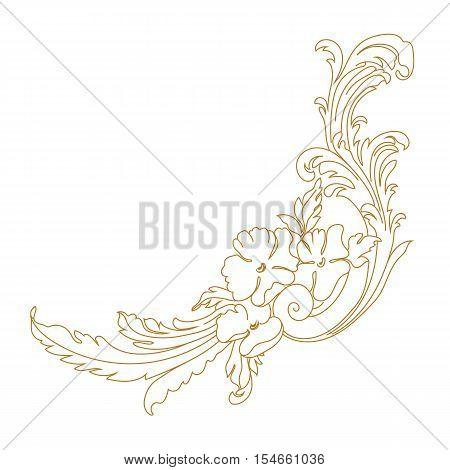 Golden Vintage baroque ornament. Retro pattern antique style acanthus. Decorative design element filigree calligraphy - stock vector