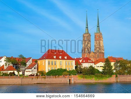 John the Baptist Cathedral in Wroclaw. Island Tumski on the Odra river. European Capital of Culture 2016 - old city Lower Silesia in Poland.