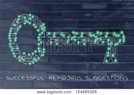 Key Made Of Electronic Microchip Circuit,  Keywords For Web Content