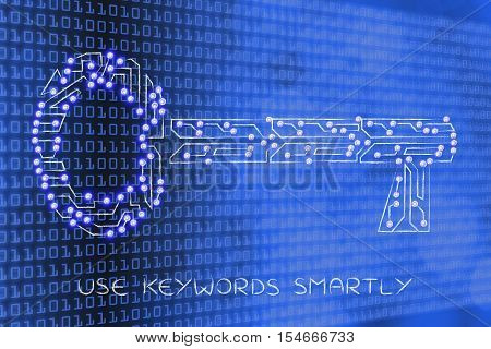 Key Made Of Electronic Microchip Circuit,  Keywords For Success