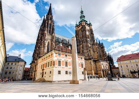 View on saint Vitus cathedral on the castle hill in lesser town in Prague city