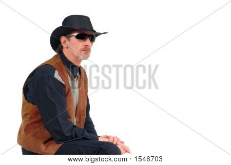 Attractive Cowboy With Glasses, Pensive Look