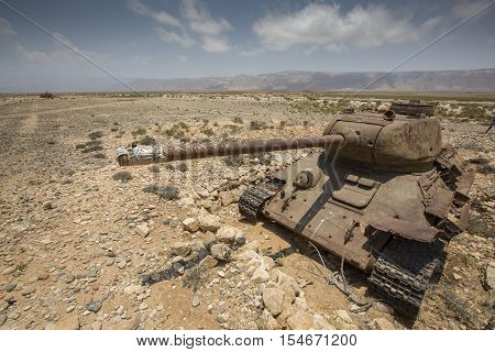 Old Tank On The Beach Of Socotra