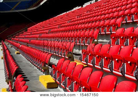 empty seats on soccer stadium San Siro in Milan, Italy