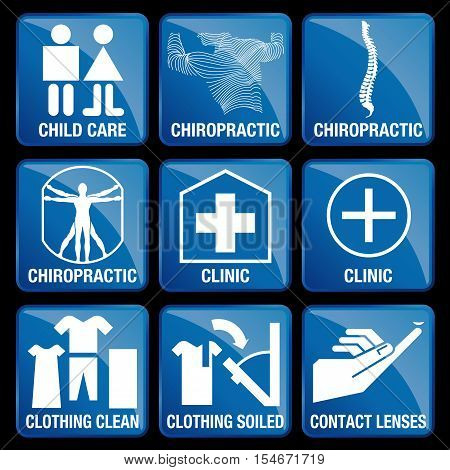 Set of Medical Icons in blue square background - CHILD CARE, CHIROPRACTIC, CLINIC, CLOTHING CLEAN, CLOTHING SOILED, CONTACT LENSES
