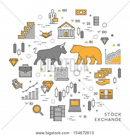 Vector line concept stock exchange. Linear symbol commodity exchange. Modern banner stock market.