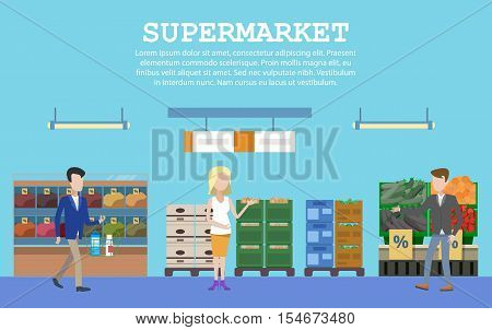 Supermarket with food and people or buyers. Supermarket aisle of grocery store or shop, market stall or counter. Indoor supermarket shelf. May be used for goods or supermarket interior row theme