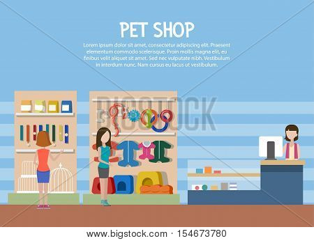 Dog and cat pet shop or store interior. Woman shopping for pet goods like dog food bone and cat food accessories, bird cage. Can be used for pet veterinarian shop or store theme, shop counter