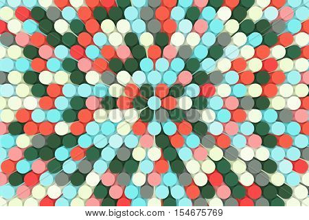 abstract colorful background mosaic tube  3D illustration red, green, blue, ivory