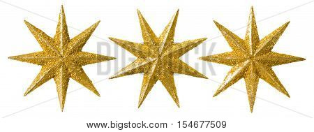 Star Christmas Decoration Xmas Decorative Set Glitter Ornament Isolated over White