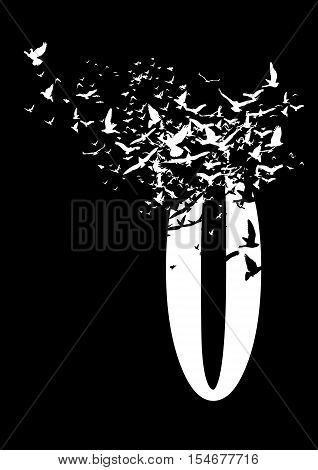 Figure 0 on a black background with birds