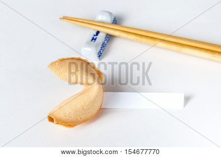 Fortune Cookie With Blank Slip And Chopsticks