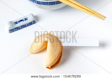 Fortune Cookie With Blank Slip And Bowl And Chopsticks