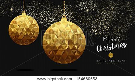 Gold Christmas And New Year Low Poly Bauble