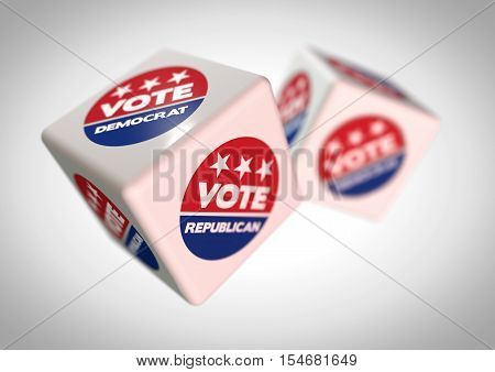 3D Illustration of rolling dice with vote republican and vote democrat icons on the faces. Concept for predicting the voting in the next US presidential election. Strong depth of field with dramatic camera angle.