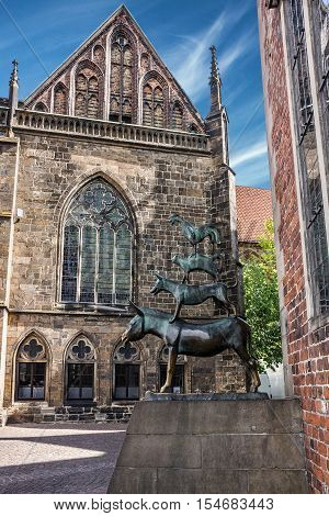 Bremen, Germany - Sep 5, 2016: Musicians monument. Germany (Die Bremer Stadtmusikanten)