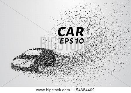 Car from the particles. The car consists of circles and points.