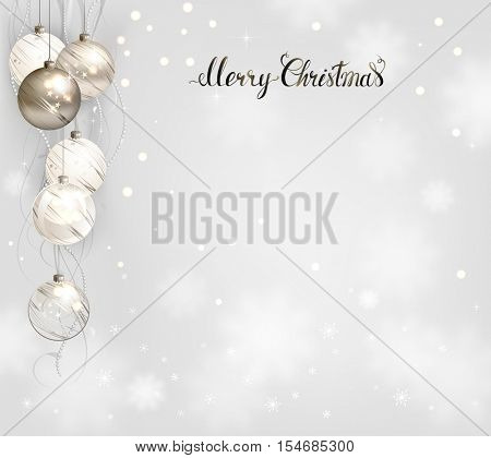 elegant holiday background with silver and white evening balls. Merry Christmas lettering.