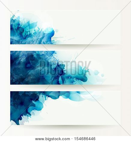 set of three banners, abstract headers with blue deliquescent blots