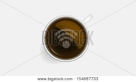 Coffee cup and wifi symbol concept icons, design elements. Cup of coffee with wifi sign. Internet cafe with open wifi hotspot. Vector illustration