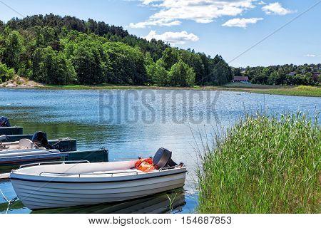 Natural and traditonal fishing boats in port Norway