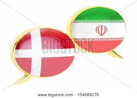 Speech bubbles Iranian-Danish translation concept. 3D rendering