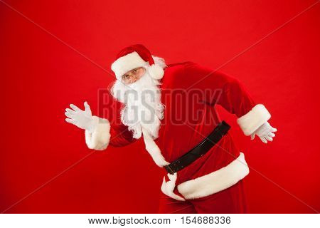eRunning Santa Claus red background Merry Christmas