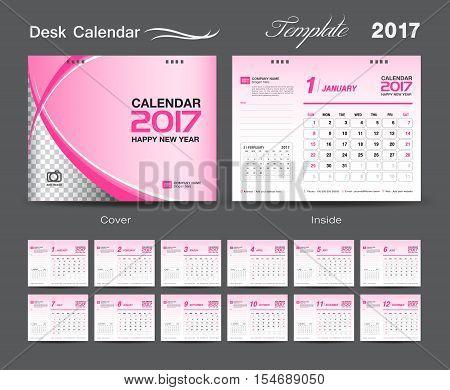 set Pink Desk Calendar 2017 template design cover Desk Calendar – Calendar Flyer Template