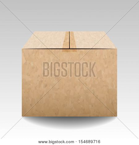 Brown Textured Closed Carton Delivery Packaging Box Isolated On Grey Background. Vector Illustration