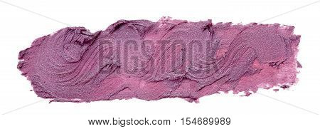 Smudged purple lipstick isolated on white background.