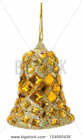 Christmas tree ball in shape of handbell isolated on the white background.