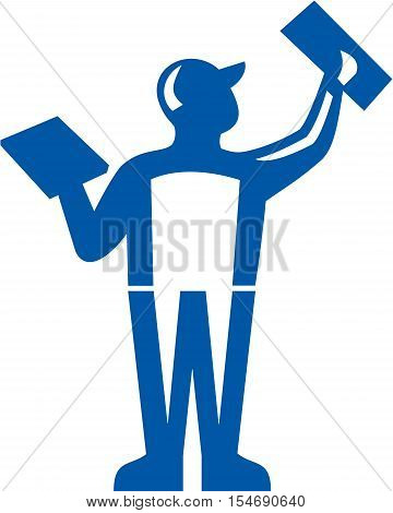 Illustration of a plasterer masonry tradesman construction worker holding trowel plastering viewed from rear set on isolated white background done in retro style.