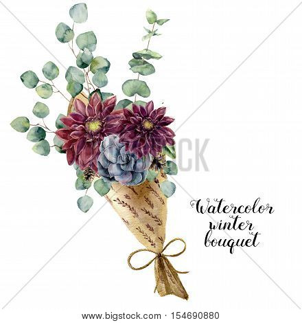 Watercolor winter bouquet. Hand painted baby, seeded and silver dollar eucalyptus elements, succulent and dahlia. Floral illustration isolated on white background. For design and textile