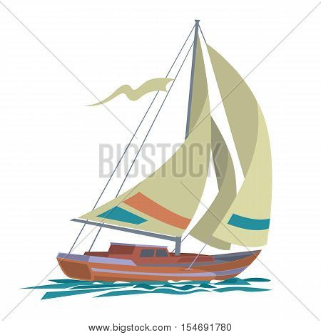 Sailing boat floating on water surface. Sea yacht with olive sails and water isolated on white background. Vector color illustration.
