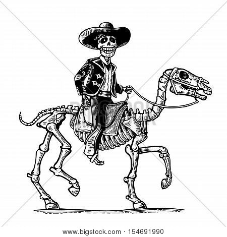 The rider in the Mexican man national costumes galloping on skeleton horse. Day of the Dead Dia de los Muertos. Vector hand drawn vintage engraving for poster label. Isolated on white background