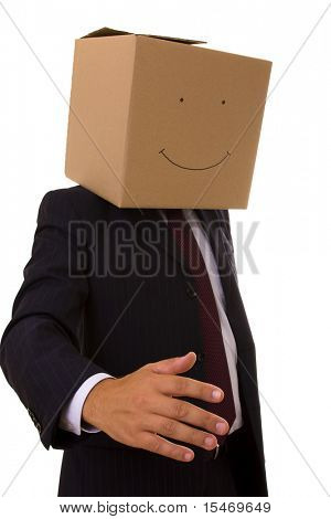 cardboard businessman with a smile face giving you a handshake