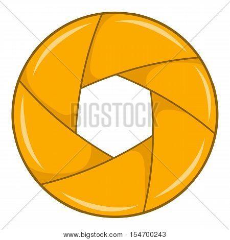 Yellow shutter icon. Cartoon illustration of shutter vector icon for web design