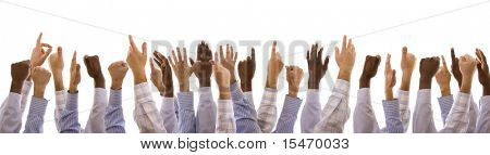 multiracial hands gesturing together (isolated on white)
