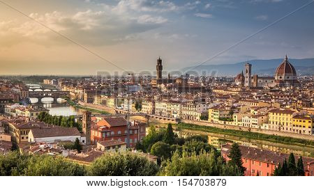Stunning sunset over Florence Italy in summer